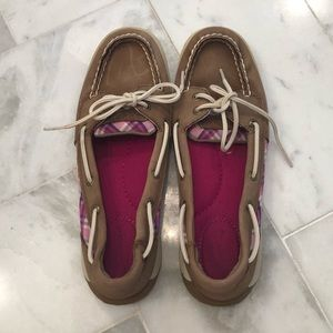 Sperry Topsider brown with pink plaid